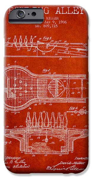 Carpet Drawings iPhone Cases - 1906 Bowling Alley Patent - red iPhone Case by Aged Pixel