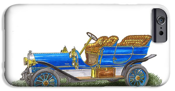 Classic Car Paintings iPhone Cases - 1906 Lambert Touring model H iPhone Case by Jack Pumphrey