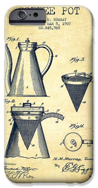 Wall Drawings iPhone Cases - 1907 Coffee Pot patent - vintage iPhone Case by Aged Pixel