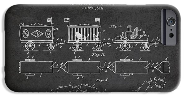 Transportation Drawings iPhone Cases - 1907 Toy Train Patent - Charcoal iPhone Case by Aged Pixel