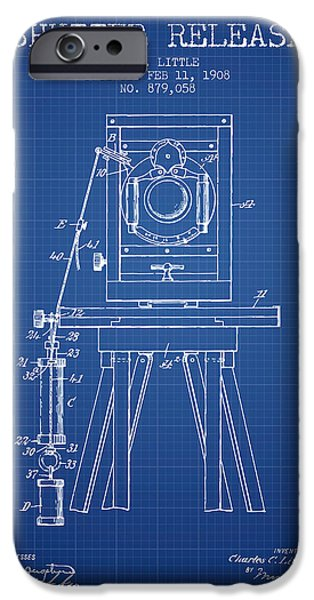 Detectives iPhone Cases - 1908 Shutter Release Patent - Blueprint iPhone Case by Aged Pixel