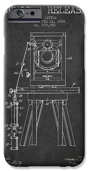 Technical Drawings iPhone Cases - 1908 Shutter Release Patent - Charcoal iPhone Case by Aged Pixel