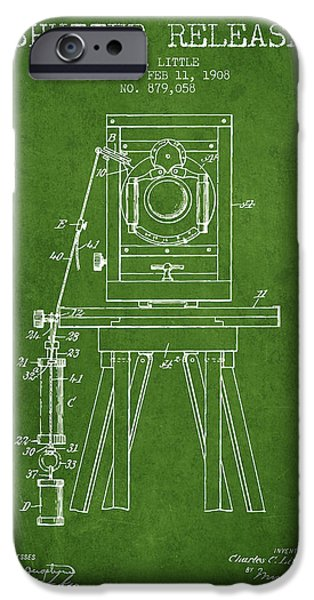 Detectives iPhone Cases - 1908 Shutter Release Patent - Green iPhone Case by Aged Pixel