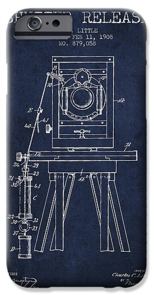 Detectives iPhone Cases - 1908 Shutter Release Patent - Navy Blue iPhone Case by Aged Pixel