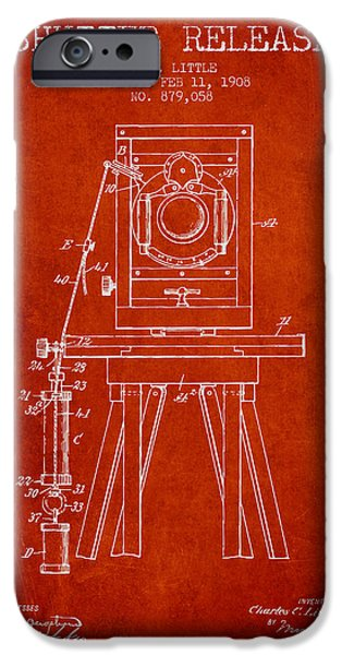 Technical Drawings iPhone Cases - 1908 Shutter Release Patent - Red iPhone Case by Aged Pixel