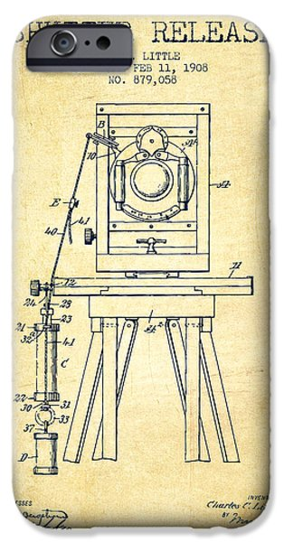 Detectives iPhone Cases - 1908 Shutter Release Patent - Vintage iPhone Case by Aged Pixel