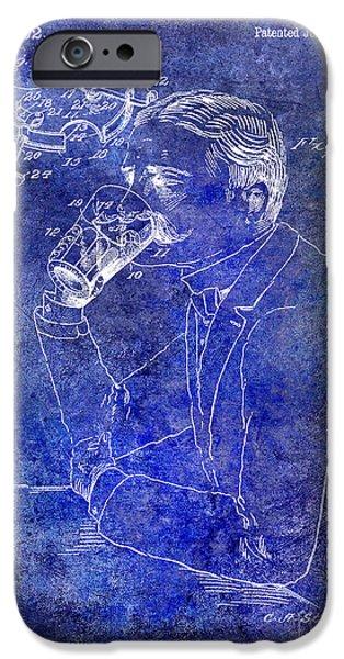 Stein iPhone Cases - 1909 Mustache Guard Patent Blue iPhone Case by Jon Neidert