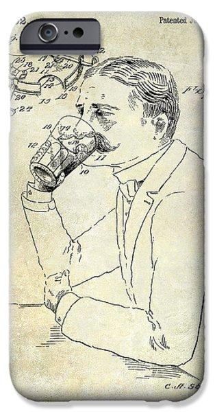 Stein iPhone Cases - 1909 Mustache Guard Patent iPhone Case by Jon Neidert