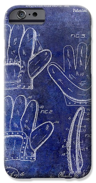 Baseball Photographs iPhone Cases - 1910 Baseball Glove Patent Blue iPhone Case by Jon Neidert