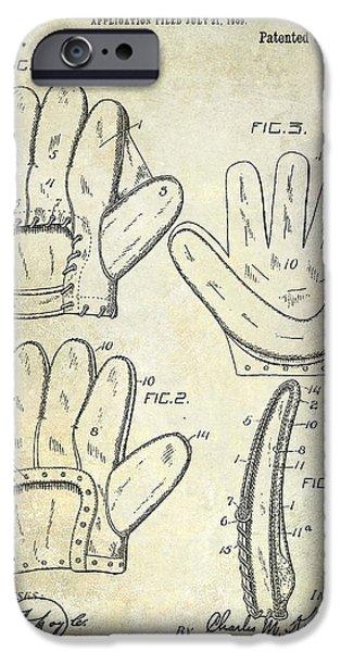 Baseball Photographs iPhone Cases - 1910 Baseball Glove Patent  iPhone Case by Jon Neidert