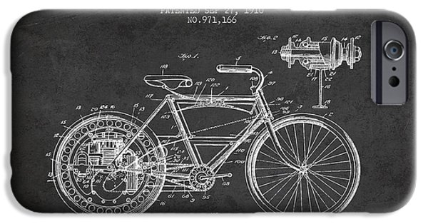 Bike Drawings iPhone Cases - 1910 Motorcycle Patent - Charcoal iPhone Case by Aged Pixel