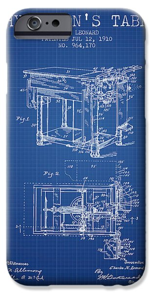 Medical Drawings iPhone Cases - 1910 Physicians Table patent - Blue Print iPhone Case by Aged Pixel
