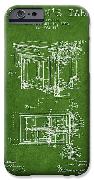 Medical Drawings iPhone Cases - 1910 Physicians Table patent - Green iPhone Case by Aged Pixel
