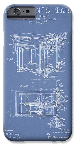 Medical Drawings iPhone Cases - 1910 Physicians Table patent - Light Blue iPhone Case by Aged Pixel