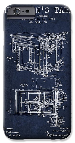 Medical Drawings iPhone Cases - 1910 Physicians Table patent - Navy Blue iPhone Case by Aged Pixel
