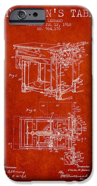 Medical Drawings iPhone Cases - 1910 Physicians Table patent - Red iPhone Case by Aged Pixel