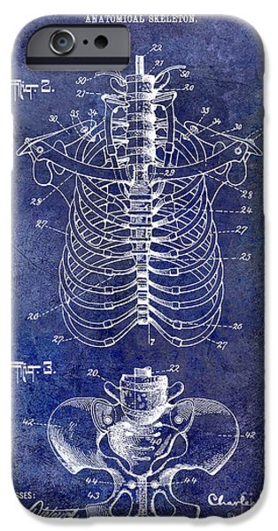Anatomical iPhone Cases - 1911 Anatomical Skeleton Patent Blue iPhone Case by Jon Neidert