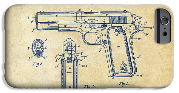 Lines Drawings iPhone Cases - 1911 Colt 45 Browning Firearm Patent Artwork Vintage iPhone Case by Nikki Marie Smith