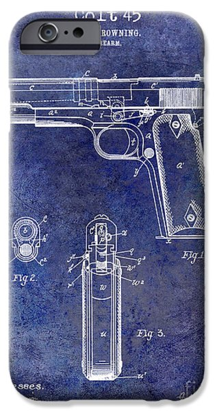 Colt 45 iPhone Cases - 1911 Colt 45 Firearm Patent iPhone Case by Jon Neidert