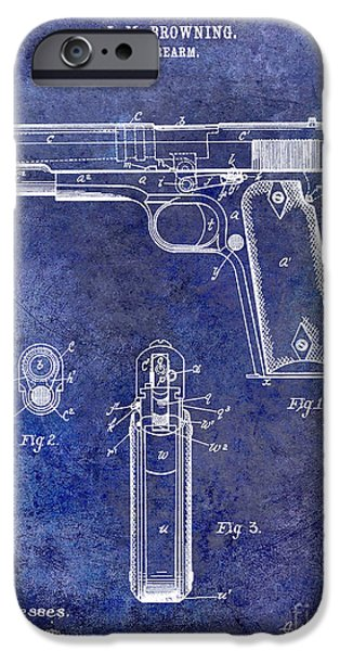 Colt 45 iPhone Cases - 1911 Firearm Patent Blue iPhone Case by Jon Neidert