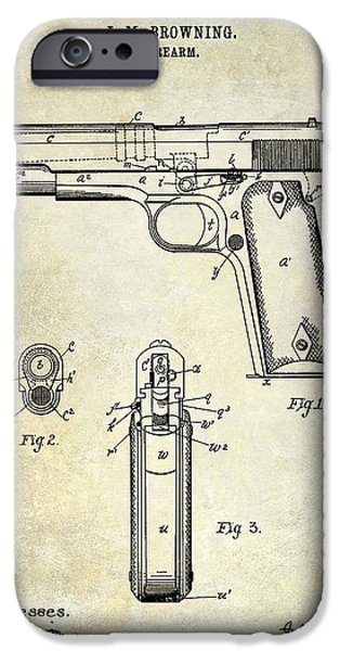 Colt 45 iPhone Cases - 1911 Firearm Patent iPhone Case by Jon Neidert