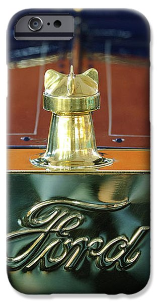 1911 Ford Model T Runabout Hood Ornament iPhone Case by Jill Reger