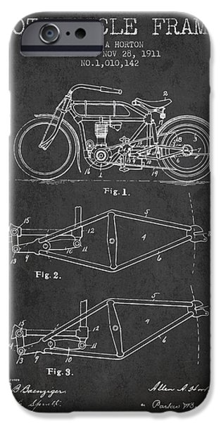 Bike Drawings iPhone Cases - 1911 Motorcycle Frame Patent - charcoal iPhone Case by Aged Pixel