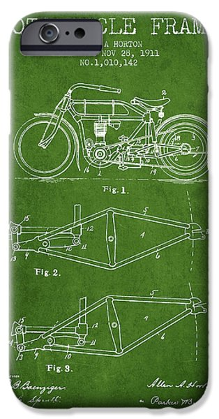 Biking Drawings iPhone Cases - 1911 Motorcycle Frame Patent - green iPhone Case by Aged Pixel