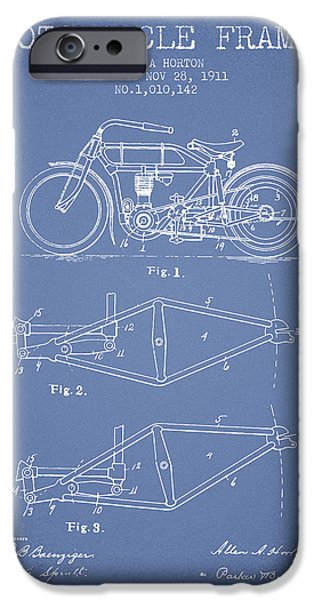 Biking Drawings iPhone Cases - 1911 Motorcycle Frame Patent - light blue iPhone Case by Aged Pixel