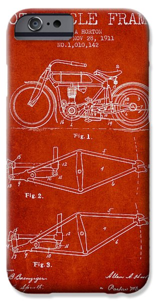 Biking Drawings iPhone Cases - 1911 Motorcycle Frame Patent - red iPhone Case by Aged Pixel