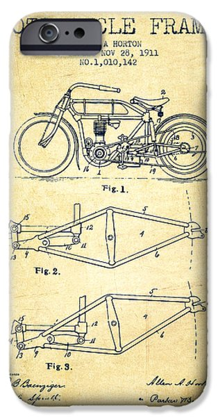 Biking Drawings iPhone Cases - 1911 Motorcycle Frame Patent - vintage iPhone Case by Aged Pixel