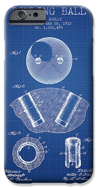 Alley Drawings iPhone Cases - 1912 Bowling Ball Patent - Blueprint iPhone Case by Aged Pixel