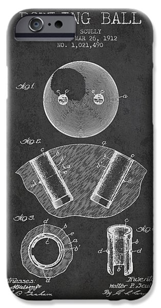 Carpet Drawings iPhone Cases - 1912 Bowling Ball Patent - charcoal iPhone Case by Aged Pixel