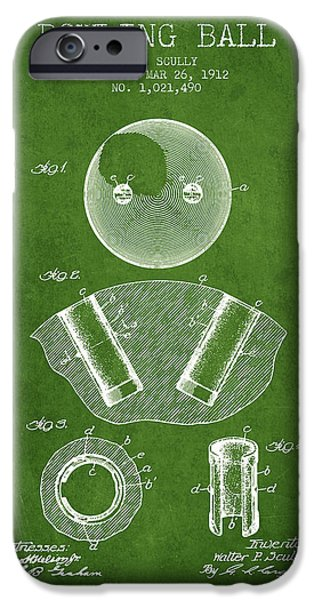 Carpet Drawings iPhone Cases - 1912 Bowling Ball Patent - Green iPhone Case by Aged Pixel