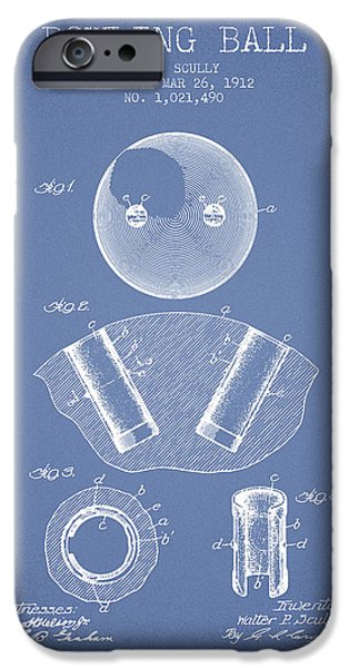 Carpet Drawings iPhone Cases - 1912 Bowling Ball Patent - Light Blue iPhone Case by Aged Pixel