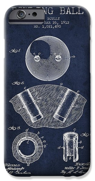 Alley Drawings iPhone Cases - 1912 Bowling Ball Patent - Navy Blue iPhone Case by Aged Pixel
