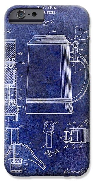 Stein iPhone Cases - 1914 Beer Stein Patent Blue iPhone Case by Jon Neidert