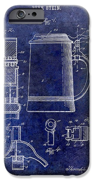 1914 iPhone Cases - 1914 Beer Stein Patent iPhone Case by Jon Neidert