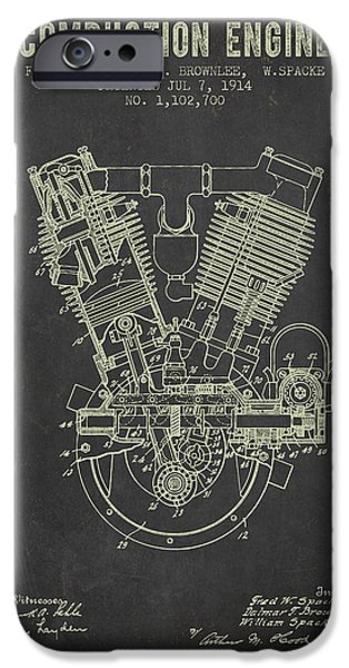 Combustion iPhone Cases - 1914 Compustion Engine Patent - Dark Grunge iPhone Case by Aged Pixel