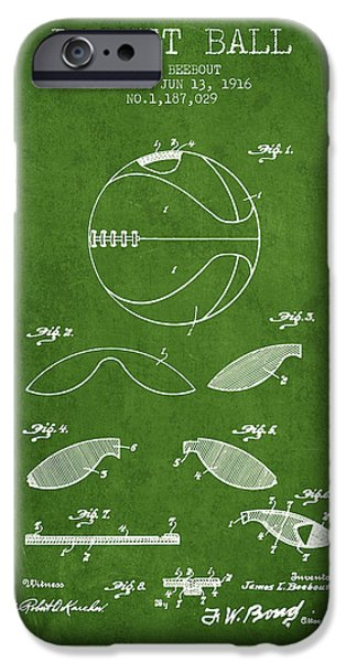 Dunk iPhone Cases - 1916 Basket ball Patent - Green iPhone Case by Aged Pixel