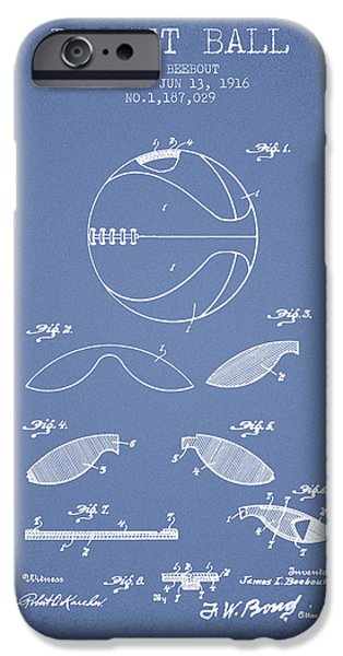 Basket Ball iPhone Cases - 1916 Basket ball Patent - Light Blue iPhone Case by Aged Pixel