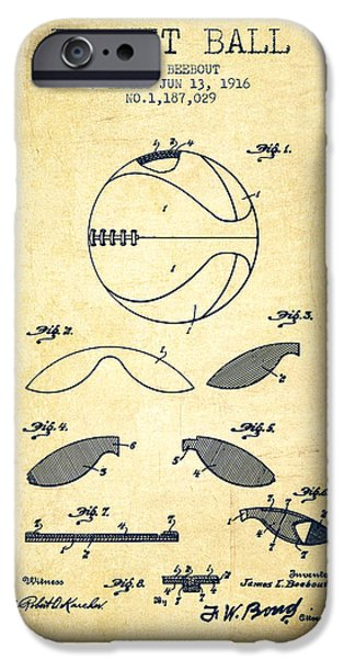 Nba iPhone Cases - 1916 Basket ball Patent - Vintage iPhone Case by Aged Pixel