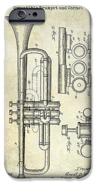 1916 Photographs iPhone Cases - 1916 Trumpet Patent iPhone Case by Jon Neidert