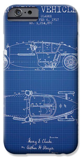 Circuit Drawings iPhone Cases - 1917 Racing Vehicle Patent - Blueprint iPhone Case by Aged Pixel