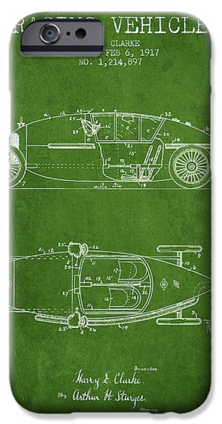 Circuit Drawings iPhone Cases - 1917 Racing Vehicle Patent - Green iPhone Case by Aged Pixel