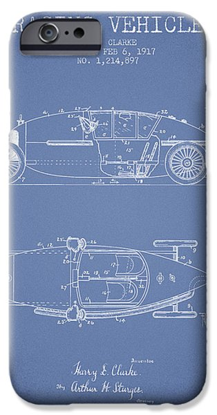 Circuit Drawings iPhone Cases - 1917 Racing Vehicle Patent - Light Blue iPhone Case by Aged Pixel