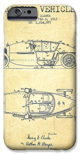 Circuit Drawings iPhone Cases - 1917 Racing Vehicle Patent - Vintage iPhone Case by Aged Pixel