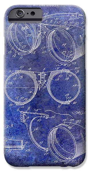 Hobart iPhone Cases - 1917 Welders Goggles Patent Blue iPhone Case by Jon Neidert