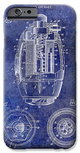 Wwi iPhone Cases - 1919 Hand Grenade Patent Blue iPhone Case by Jon Neidert