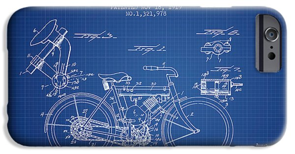 Biking Drawings iPhone Cases - 1919 Motorcycle Patent - Blueprint iPhone Case by Aged Pixel